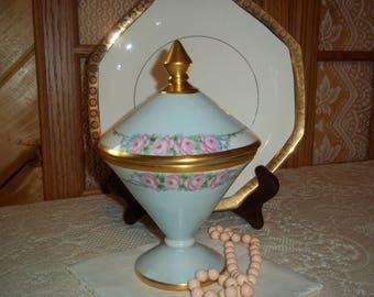 Victorian Blue Pink Roses & Gold Compote Pedestal Porcelain Bowl Hand~Painted Signed Miller Dated 1931 Dresser Vanity Decorative Decor