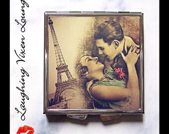 Paris Gift Pill Box - Eiffel Tower - Compact Mirror - Pill Case - Purse Bag - Makeup Mirror - Bag Mirror - Romantic Paris Style-A