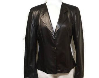 Armani Leather Jacket - Designer Black Leather Blazer