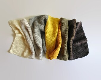 Gray Yellow Color Block Scarf - Hand Knitted Shawl - Hand Knit, Statement, Cute, Multi Wrap Scarf, Wool Long Scarf, One of a Kind, Shawl