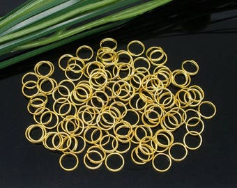 30 rings double 5 mm round gold plated.