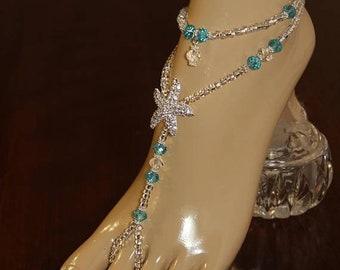 Crystal Barefoot Sandals Pearl Starfish Foot Jewelry Destination Bride Beach Wedding Barefoot Sandals Rhinestone Wedding Anklet