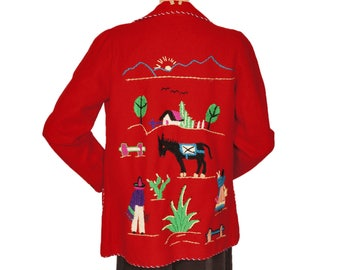 Vintage 1950s Mexican Embroidered Tourist Jacket Lopez Red Wool w Embroidery Size S / M