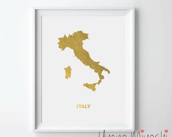 Italy Map Gold Foil Print, Gold Print, Map Custom Print in Gold, Illustration Art Print, Map of Italy Gold Foil Art Print
