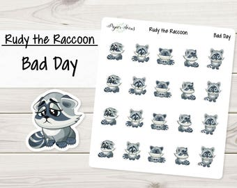 Bad Day | Rudy the Raccoon | Planner Stickers