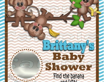 Monkey Baby Scratch off cards Baby boy Shower Game Scratch tags Party Scratch off game Favor Invitations Scratch off tags 12 Precut  printed