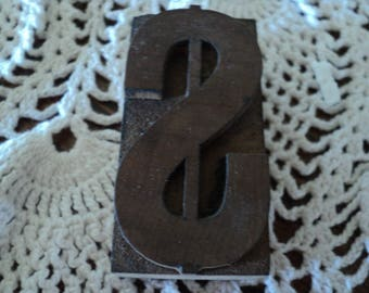 Antique Wood Printer Block Dollar Sign--Great Condition