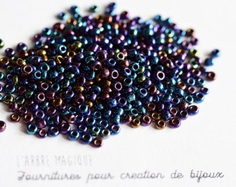 10g seed Blue shiny opaque more or less 1200 beads 2 mm