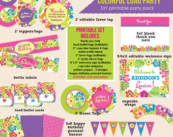 Colorful Luau Party - DIY/Printable Complete Party Pack- Instant Download PDF File