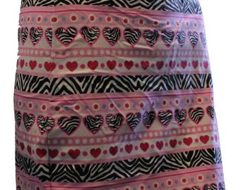 Youth Hearts and Zebra Skirt, Valentine Skirt Skirt