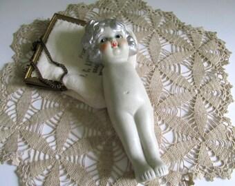Vintage Kewpie Doll Figurine  Bisque Porcelain Silver Hair Missing Arms Antique Kewpie 1920's