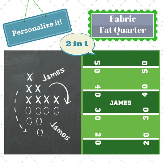 Personalized Fabric Fat Quarter - Football Game Day Sports Fabric, Upholstery, Quilting, Linen, Cotton, Minky, Fleece, Organic Cotton, DIY