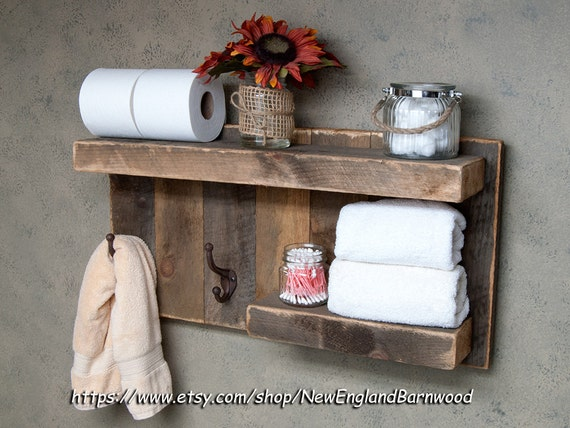 Bathroom shelves wooden shelf bathroom shelf rustic home decorfloating shelf coat rack wall mountwall shelvesbathroom storage