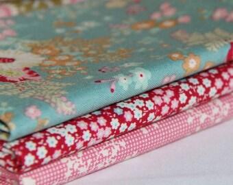 Tilda Cabbage Rose Fabric Bundle|Last Ones|Tilda fabric|CR6 |3 fat Quarters|Tilda Cabbage Rose|Quilt Fabric Australia.