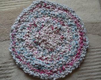 Hand made circular rug, recycled cotton