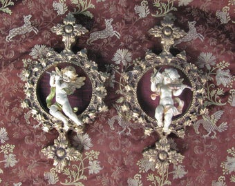 Pair of Cherubic Renaissance / Hollywood Regency / Shabby Chic Wall  Plaques