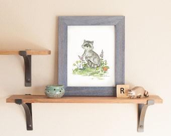 Woodland Nursery Art, Raccoon Nursery Print, Forest Nursery Art, Children's Art, Children's Wall Art,Raccoon Wall Art, Raccoon Art Print
