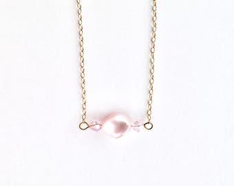 Swarovski Crystal Necklace - Gold Minimal Necklace - Swarovski Pearl Necklace