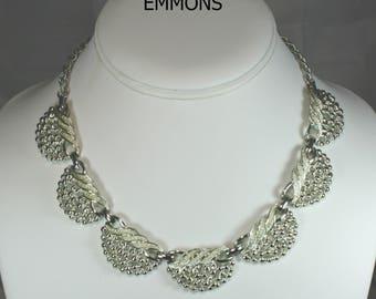 Signed Vintage EMMONS Silver Tone Bib Necklace