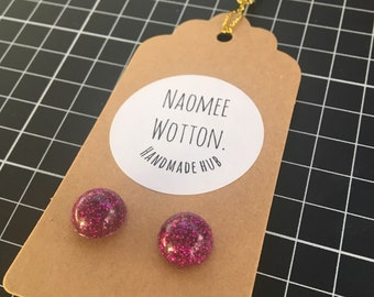 Dome Pink Sparkle Resin Earrings - Size 2