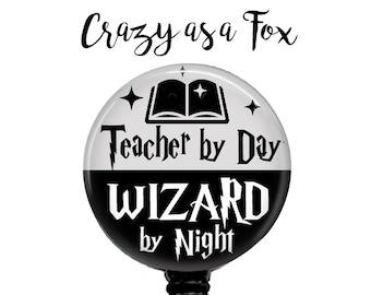 Teacher by Day Wizard by Night Retractable Badge Holder, Harry Potter inspired Badge Reel, Lanyard, Stethoscope ID Tag, Teachers Gift