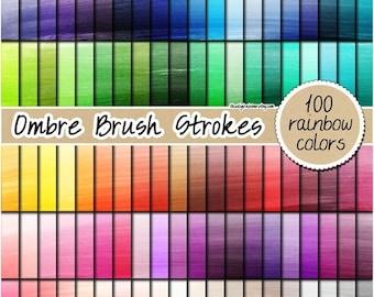 SALE 100 ombre watercolor digital paper brush painted digital paper ombre digital paper rainbow watercolor print 12x12 pastel neutral bright