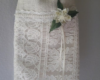 Rustic burlap and lace dollar dance bag, money bag, ivory,  bridal,  wedding, boho, hippie, shabby chic