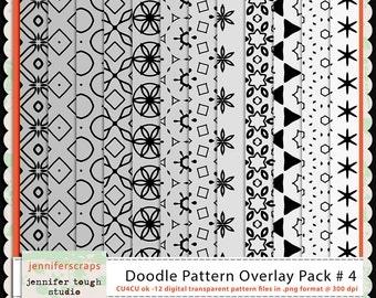 Instant Download - Set of 12 digital paper overlays/templates - Doodle patterns overlay set 4 - CU4CU ok