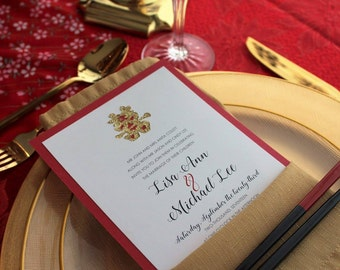DOUBLE HAPPINESS -  *Sample* Shimmery Red, Gold and Cream Layered Wedding Invitation includes reply card and envelopes