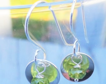 Peridot and Sterling Silver Saucer Earrings