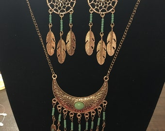 Dreamcatcher Earrings and Turquoise Necklace Set