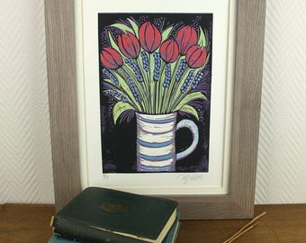linocut, Spring, tulips, hyacinth, flowers, posy, blue, red, purple, green, white, jug, home interior, printmaking