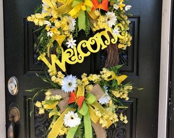 Front door welcome wreath, front door grapevine wreath, yellow grapevine wreath