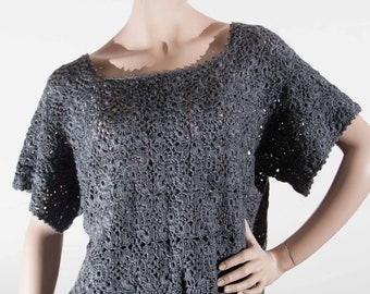 Pullover tunic 46 T44 anthracite grey cotton/viscose with openwork stitches for woman