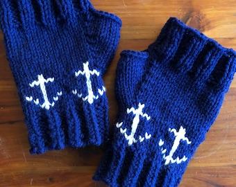 Anchor Fingerless Gloves