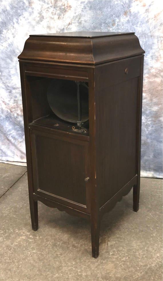 Edison No 18 Disc Phonograph Cabinet Vintage Record Player Home Music  Machine - Edison No 18 Disc Phonograph Cabinet Vintage Record Player