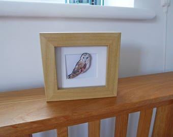 Owl Miniature Box Frame Art