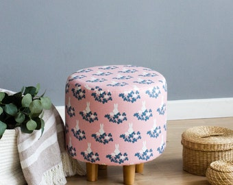 Lovely Pouf   Rabbit Pouf   Ottoman   Wooden Legs   Footstool   Round Poof   Kids  Room Pouf   Chair For Childrenu0027s Room   Banquet   Cozy Pouf