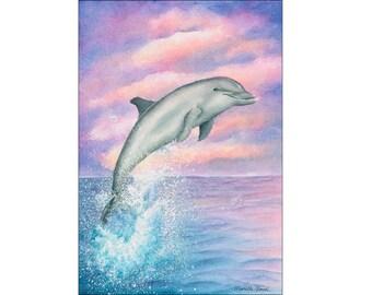 Dolphin painting Wall art prints Beach decor Dolphin art Dolphin watercolour painting Under the sea creature nursery print Dolphin Print