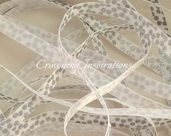 3/8 Silver Glitter Polka Dots on White US Designer Ribbon