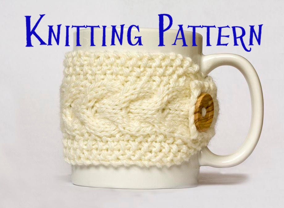 Instant Download PDF Knitting Pattern Cabled Mug Cozy