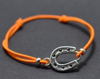 Bracelet orange cord Horseshoe