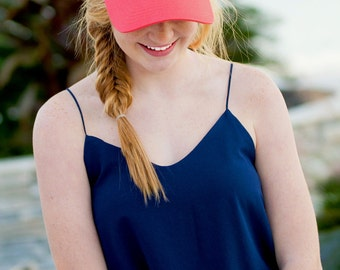 Monogrammed womens trucker hat, personalized womens coral trucker caps