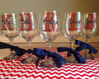 Set of 7 Personalized Chevron Monogram Wine Glasses