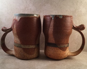 "2 Handmade Ceramic Clay Large 6"" Mugs Signed Hand Thrown Tea Beer Beautiful Brown Gray Glazes Gift for Him Masculine"