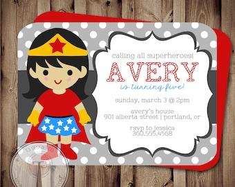 SUPERHERO Girl Birthday Invitation (BIRTHDAY INVITATION) super hero birthday invitation, heroes, superheroes birthday invite, super girl