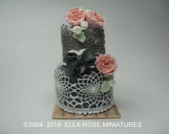 12th scale miniature Two Tiered Grey and Pink Wedding Cake
