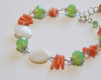 Pink Coral, Mother of Pearl, Sea Foam Green, Sterling Silver, Ocean, Beach, Hawaii, Tropical, Vacation