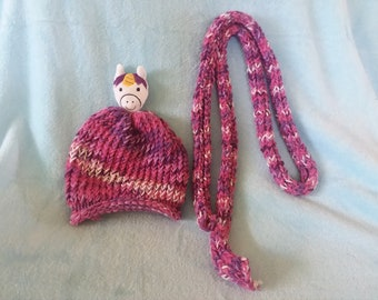Pink unicorn loom knit toddler hat and scarf
