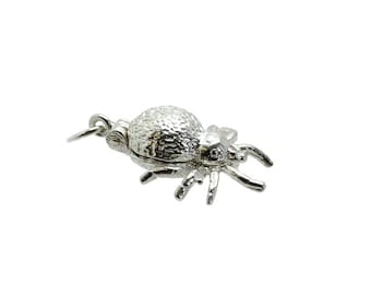 Sterling Silver Opening Spider Spinning Wheel Charm For Bracelets